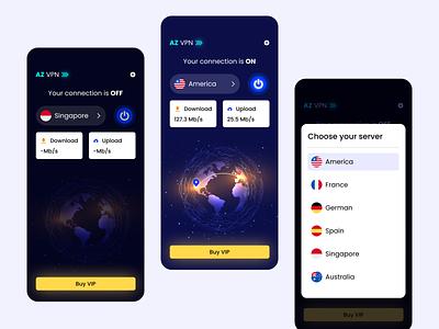 AZ VPN App internet connection vpn mobileapp app design uiux ui
