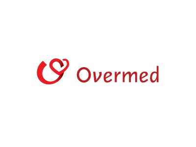 Overmed logo red o id heart identity medical