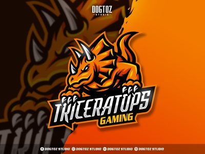 Triceratops Gaming Logo illustration design gaming streamer twitch vector dinosaur triceratops esport cartoon character mascot logo