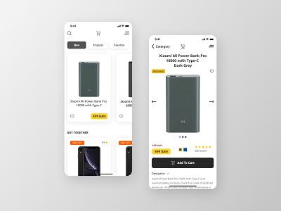 Product app design concept app ui uidesign concept mobile app mobile design product design checkout payment method categories bank card powerbank iphone xiaomi buynow ios app design minimalism