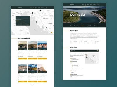 Landing page for a travel agency minimalism sea trips tours landing page design concept design uiux travel overview card map
