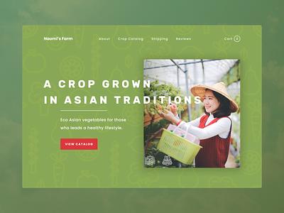 Hero section for a farmer's website vegetables vegeterian vegan harvest crop farmer asian uiux uidesign ui minimalism concept