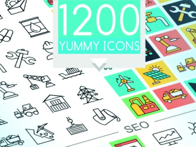 1200 Flat and Line Vector Icons
