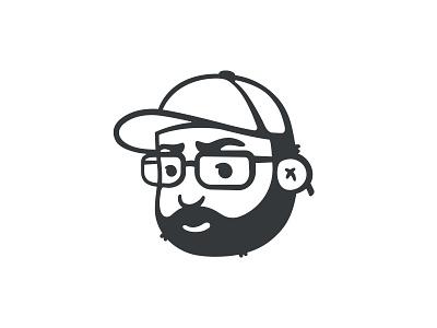 Simple Avatar of Myself toon cartoon illustrator headshot avatar portrait vector white black minimal illustration