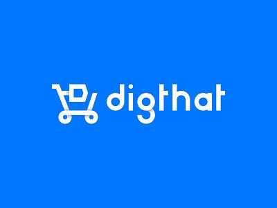 DigThat Branding illustration geometric folded icon typography vector branding logo blue white minimal