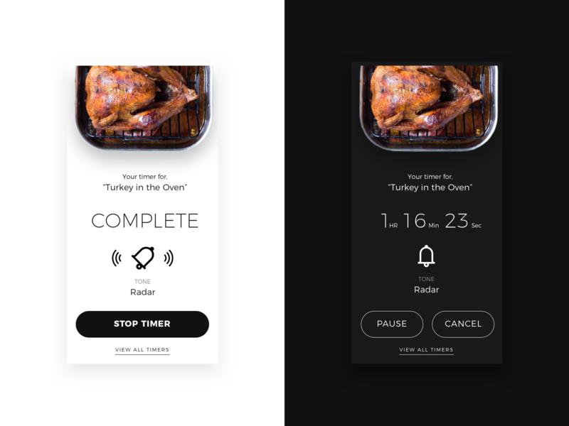 Daily UI 014  •  Timer cooking oven turkey thanksgiving app design black white minimal ux  ui ux ui timer daily ui