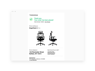 Daily UI 017 • Email Reciept receipt autonomous chair email black white minimal ux  ui ux ui daily ui