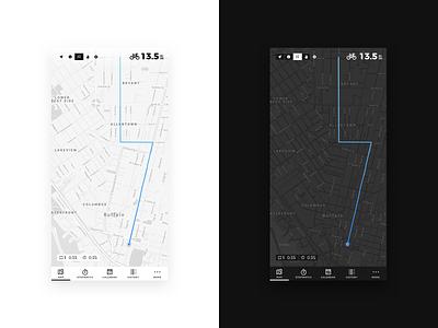 Daily UI 020 • Location Tracker cycling bike tracker location app daily ui black white minimal ux  ui ux ui