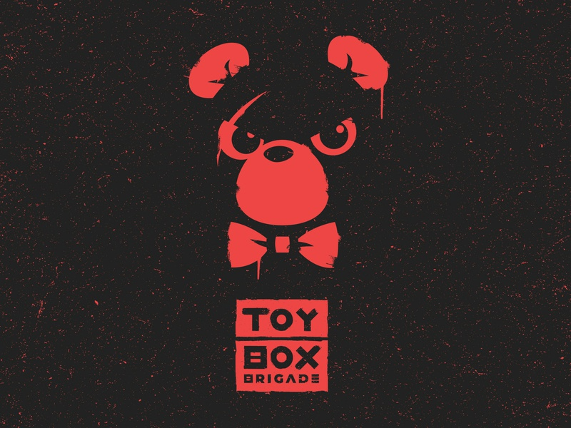 Toy Box Brigade Splatter t-shirt poster branding vector black red bear rock skate punk band mascot splatter logo