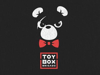 Toy Box Brigade Halftone design vector bear mascot black white red rock punk ska logo band