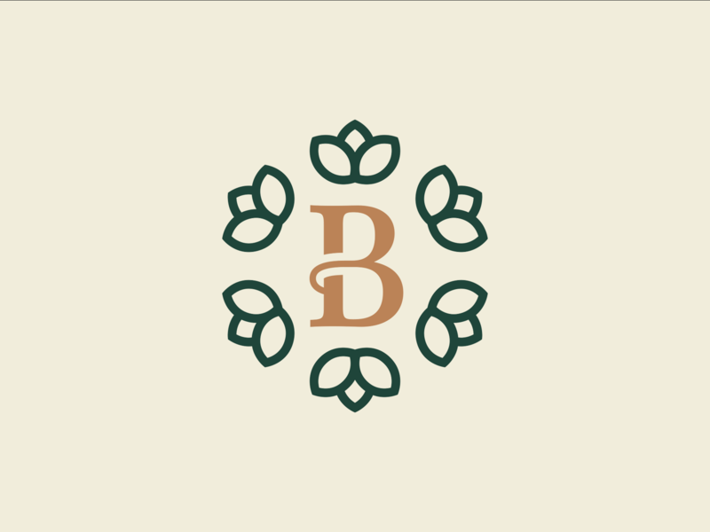 Brittany Leo HR Branding gold green wordmark illustration logo icon typography branding vector design minimal