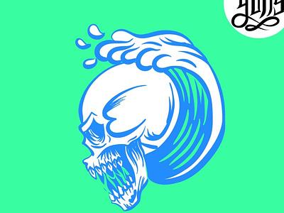 Skull and sea skullart sea wave horror design illustration logo skull