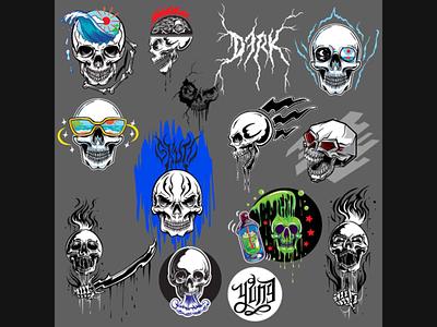 Skull designs skeleton icon logo skull horror design illustration