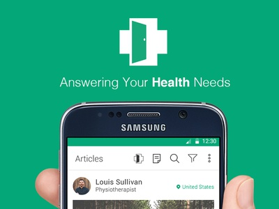 Articles page for upcoming app called Your Health Room doctor flat color health android app design