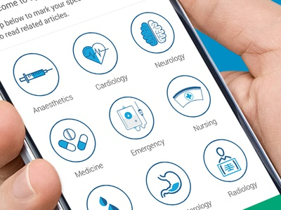Specialities scree design for upcoming app android apps health illustration flat design