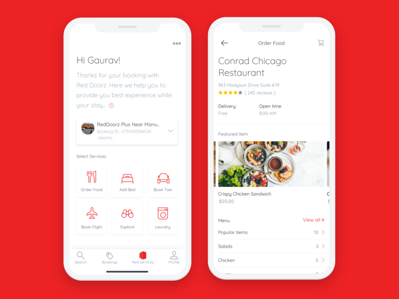 Red Doorz Room service app red minimal hotel app userinterfacedesign ux design