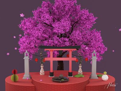 Japan compositing 3D illustration 3d illustration japan compositing japan compositing japan redshift hardy guga tevdorashvili 3d photoshop design cinema4d artwork aesthetic 3d art