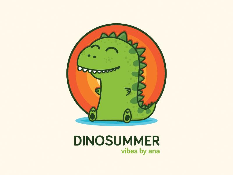 Dinosummer  sunset drawing summer cute illustration dinosaur