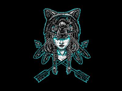 Wolf Spirit linocut wolves feather arrow girl wolf