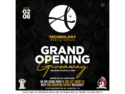 A+ Technology Grand Opening Giveaway illustration icon logo typography flyer graphic design clean art design branding