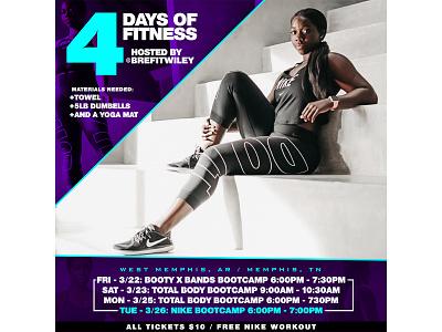 Bre Wiley 4 Days of Fitness Flyer flyer art graphic design design branding
