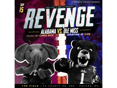 """Revenge"" Official Alabama vs Ole Miss Promo clean art typography logo minimal flyer graphic design design branding"