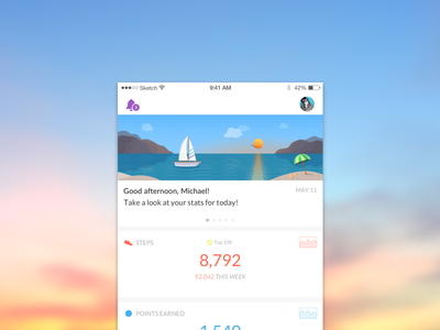 A more personalized page just for you! illustration points steps data stats colorful umbrella boat spire sunset ios