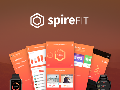 Say hello to, Spire FIT mobile app mobile design landing page splash page hero shot product shot step tracking steps tracking fitness android app ios app