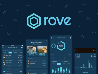 Rove - explore fitness, together apple health health fitness tracking step competitions interface apple design design ios logo ios design