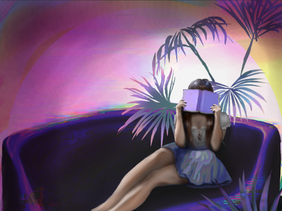WIP digital painting, pushing my limits with that hue shift palmtree figuredrawing fantasy photoshop digital painting illustration surreal art art