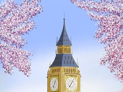 Big Ben in spring british britain london big ben web design illustrator illustration artwork art