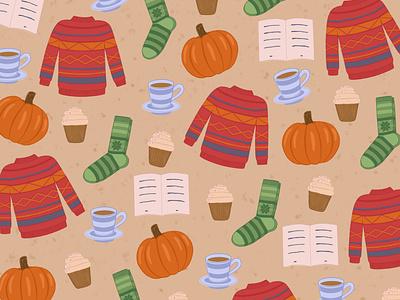 One cozy autumn pattern pattern art pattern cozy cupcake cake autum illustrator illustration design artwork art