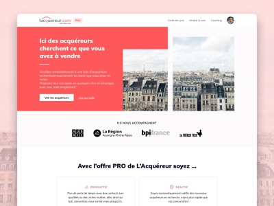 Acquereur - Homepage app startup application web layout image red home screen homepage design home homepage design ux ui