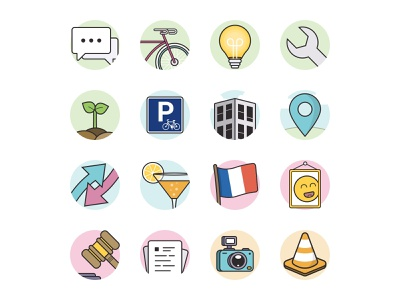 Icon Set Bike - La Ville à Vélo minimal icon vector branding illustration