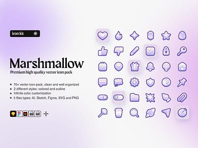 Marshmallow Premium Icon Kit outlined stroke bicolor icons pack icon pack marshmallow icon kit svg figma sketch illustrator web outline gradient icon