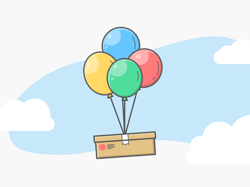 Thanks for your order - Clic and Fit startup e-shop design order illustration ballon fashion box thanks