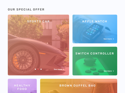 Special Offer gradient food bag switch apple car product page offer shop website startup ui