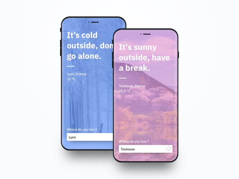Minimalist Weather App startup cold sunny color bold ios android ux ui mobile app weather