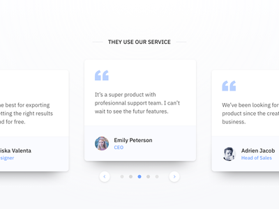Testimonials web website commenting rate product comment testimonials startup ux ui