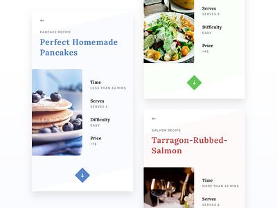 Recipe Application pancakes salmon salad food application startup ux ui app recipe