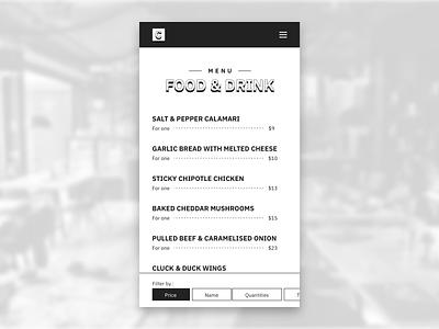 Menu Food & Drink logo design concept android ios app black and white white black ui