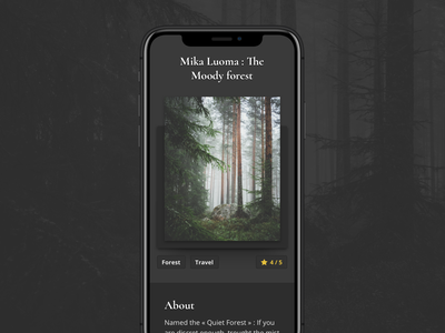 The Moody Forest - Mika Luoma cards card black ux design typografy forest app mobile star rate travel picture ios android ui interface