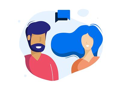 Illustration Users - 365Talents conversation smile people blue hair startup branding design web website illustration ui