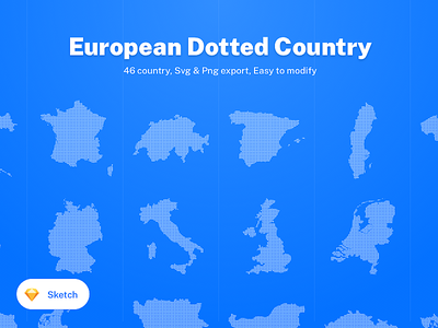 46 European Dotted Country 🇪🇺 eu svg ui8 kit europa european union graphic data chart france countries euro dot country european europe design ui