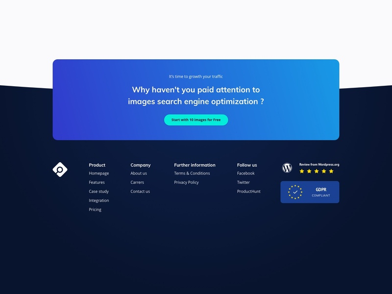 Imageseo Footer - GPDP and Review from wordpress image manipulation image producthunt wordpress gdpr black green bleu gradient design gradient color gradient icon branding website vector web design startup ux ui