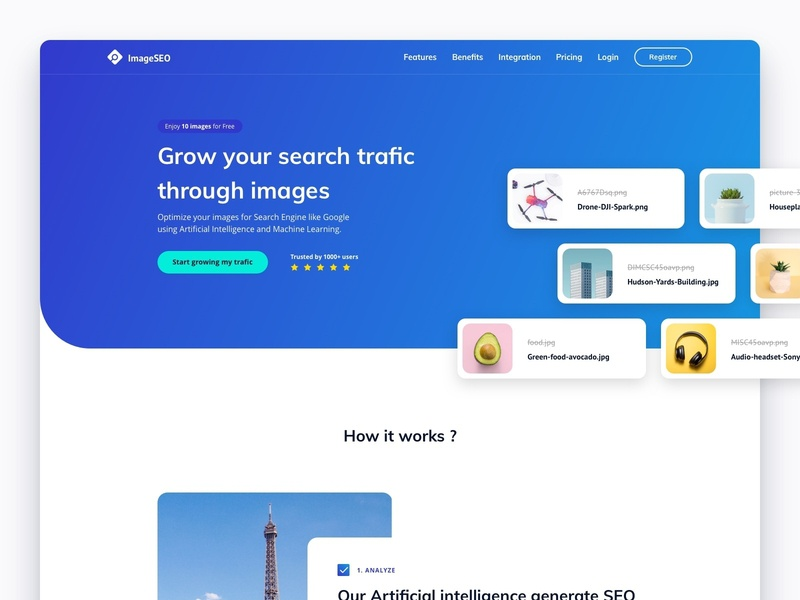 ImageSEO Homepage tool purple blue gradient trusted login register artificial intelligence machine learning ia seo image branding web design website app startup ux ui