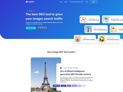 Homepage and Pricing - Image SEO Tool growth pricing table blue landing homepage pricing tool image images seo gradient branding web application design website app startup ux ui