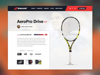 Babolat Redesign babolat tennis nadal red black sport aeropro drive rafael nadal webdesign product page