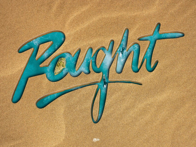 Rought water sand typography typographie 3d illustration design lettring letters procreate hand writing