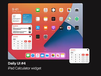 Daily UI #4 | iPad Calculator Widget homescreen adobexd daily ui design ui dailyui widget ipad apple ios14